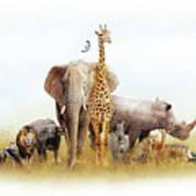 Safari Animals In Africa Composite Poster