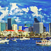 Sailing In San Diego Bay  Poster