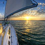 Sailing Sunset Charleston Sc Beneteau 49 Poster
