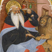 Saint Jerome Extracting A Thorn From A Lion's Paw Poster