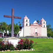 Santa Barbara Mission And Cross Poster