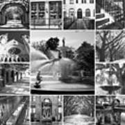 Savannah Collage Black And White Poster