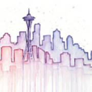Seattle Skyline Watercolor Poster