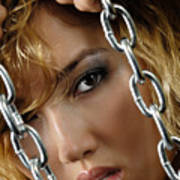 Sensual Woman Face Behind Chains Poster