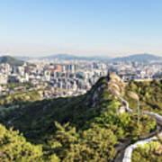 Seoul City Wall From Inwangsan Mountain In South Korea Capital C Poster