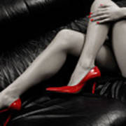 Sexy Long Legs In Red High Heels Poster