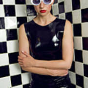 Sexy Woman In Latex Bath Poster