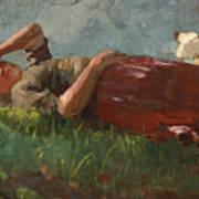 Shepherd Girl Resting Poster