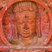 Shiva's Face On A Pillar At Chand Baori Poster