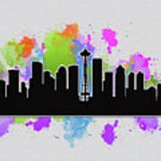 Seattle Skyline Silhouette Poster