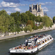 Sightseeing Boat On River Seine To Louvre Museum. Paris Poster by Bernard Jaubert