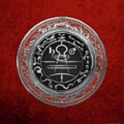 Silver Seal Of Solomon - Lesser Key Of Solomon On Red Velvet  Poster