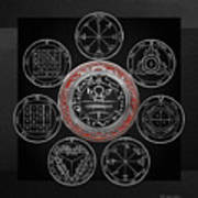Silver Seal Of Solomon Over Seven Pentacles Of Saturn On Black Canvas  Poster