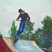 skate park day, Skateboarder Boy In Skate Park, Scooter Boy, In, Skate Park Poster