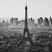 Skyline Of Paris In Black And White Poster