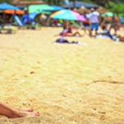 Smartphone Beach Woman Poster