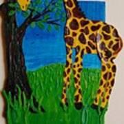 Snack Time For Giraffe Poster