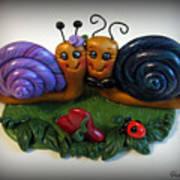 Snails In Love Poster by Trina Prenzi
