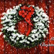 Snowy Christmas Wreath Card Poster