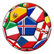 Soccer Ball With Flag Of Iceland In The Center Poster
