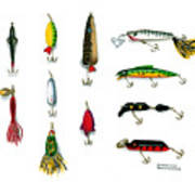 Sport Fishing Spinners Spoons And Plugs Poster by Sharon Blanchard
