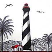 St Augustine Lighthouse Christmas Card Poster