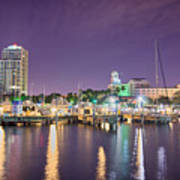 St Petersburg Florida City Skyline And Waterfront At Night Poster