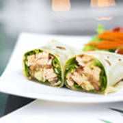 Steamed Salmon And Salad Wrap Poster