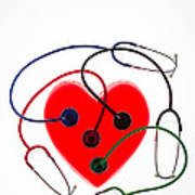 Stethoscopes And Plastic Heart Poster
