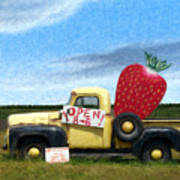 Strawberry Truck Poster