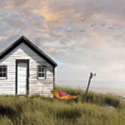 Summer Shack With Hammock By The Ocean Poster