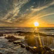 Sunset At Thor's Well Poster