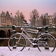 Sunset In Snowy Amsterdam In The Netherlands In Winter Poster