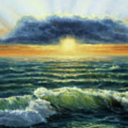 Sunset Over Ocean Poster