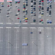 Supermarket Roof And Many Cars In Parking, Viewed From Above. Poster