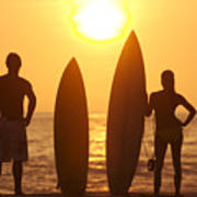 Surfer Silhouettes Poster