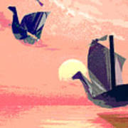 Swan Ships Leaving The Sea Poster