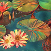 Teal Waterlilies 8 Poster
