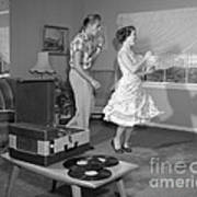 Teen Couple Dancing At Home, C.1950s Poster