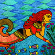 The Mermaid In Madhubani Poster