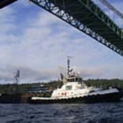 The New Tacoma Narrows Bridge - Foss Tug Poster