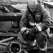 The Praying Firefighter Black And White Poster