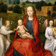 The Virgin And Child Between Two Angels Poster