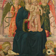 The Virgin And Child Enthroned With Angels Poster