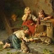 Three Children Feeding Rabbits Poster