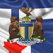 Toronto - Coat Of Arms Over City Of Toronto Flag  Poster by Serge Averbukh