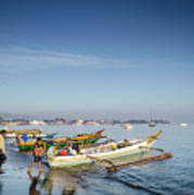 Traditional Fishing Boats On Dili Beach In East Timor Leste Poster