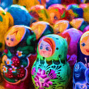 Family Of Mother Russia Matryoshka Dolls Oil Painting Photograph Poster