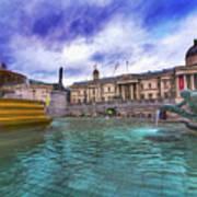 Trafalgar Square Fountain London 5 Art B Poster