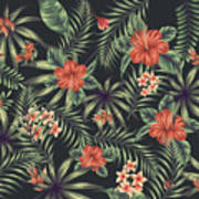Tropical Leaf Pattern 5 Poster